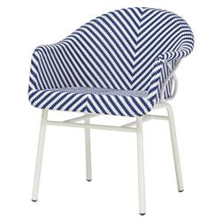 Lily Coastal Beach Blue White Woven Occasional Chair | Kathy Kuo Home