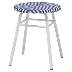 Lily Coastal Beach Blue Woven Outdoor Stool | Kathy Kuo Home