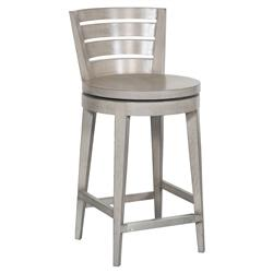 Lindel Coastal Beach Dove Grey Oak Counter Stool | Kathy Kuo Home