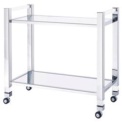 Lindsey Modern Minimal Mirrored Steel Bar Cart | Kathy Kuo Home