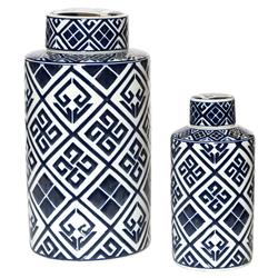 Ling Set Of 2 Blue & White Patterned Decorative Tea Jars | Kathy Kuo Home