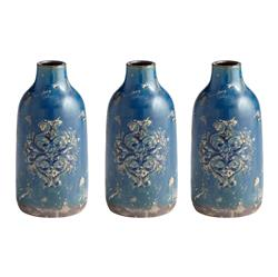 lissie french rustic blue terra cotta vase s kathy kuo home - Decorative Vases
