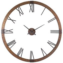 Lister Industrial Loft Hammered Copper Oversize Wall Clock | Kathy Kuo Home