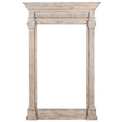 Livia French Country White Wash Carved Wood Column Mirror | Kathy Kuo Home