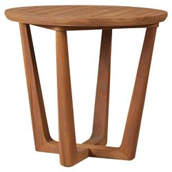 Lloyd Flanders Teak Modern Classic Round Sled Base Outdoor Side End Table | Kathy Kuo Home