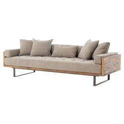 Lloyd Industrial Lodge Taupe Tufted Cushion Wood Frame Sofa | Kathy Kuo Home