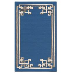 Lockhart Hollywood Regency Cobalt Blue Hand Woven Wool Rug - 5x8 | Kathy Kuo Home