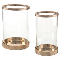 Loft Hammered Gold Glass Hurricanes - Pair | Kathy Kuo Home
