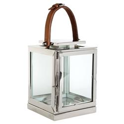 Lois Modern Classic Silver Leather Candle Lantern - 9H | Kathy Kuo Home
