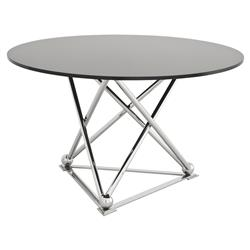 Long Beach Modern Classic Black Glass Steel Round Pedestal Dining Table | Kathy Kuo Home