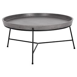Loomis Industrial Loft Round Concrete Tray Top Black Metal Coffee Table | Kathy Kuo Home