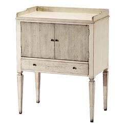 Lorelei Spindle Leg French Country White Wash Side Table | Kathy Kuo Home