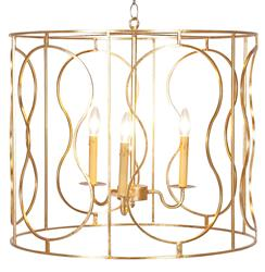 Loren Hollywood Regency Gold 3 Light Pendant Chandelier
