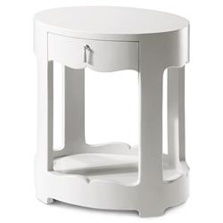 Lorna Modern Classic Silver White Lacquer Oval Nightstand | Kathy Kuo Home