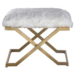Lorna Regency White Faux Fur Antique Gold Stool | Kathy Kuo Home