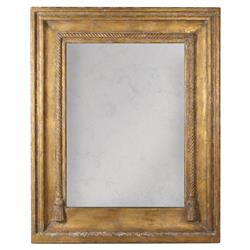 Lou French Country Rustic Brown Gold Frame Antiqued Wall Mirror | Kathy Kuo Home