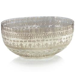 Louisa Modern Classic Mercury Glass Flower Etched Oval Bowl | Kathy Kuo Home