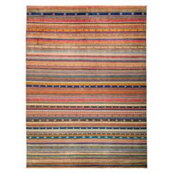 Loula Blue Tribal Striped Bright Wool Rug - 9'2 x 12'5 | Kathy Kuo Home