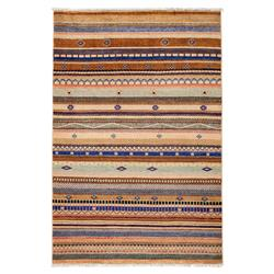 Loula Brown Striped Navy Wool Rug - 4'2 x 6'3 | Kathy Kuo Home