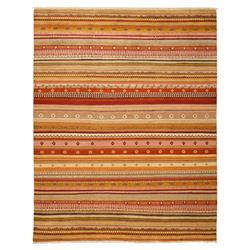 Loula Tribal Striped Coral Red Beige Wool Rug - 8 x 10'2 | Kathy Kuo Home
