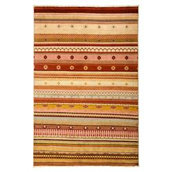 Loula Tribal Striped Coral Red Beige Wool Rug - 4'2 x 6'2 | Kathy Kuo Home