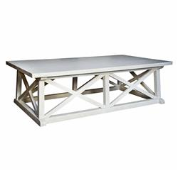 Luc Coastal Beach White Wash Coffee Table | Kathy Kuo Home