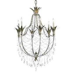 Luciana Antique Gold Champagne Deco Style 6 Light Crystal Chandelier