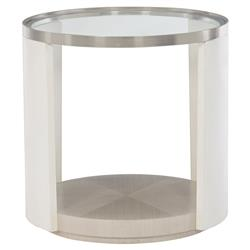 Lucille Modern Classic Round Glass Top White Grey Wood Side Table | Kathy Kuo Home
