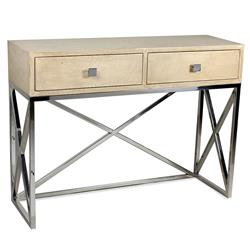 Lucrezia Modern Classic Leather Wood Stainless Steel Console Table | Kathy Kuo Home