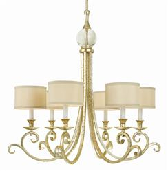 Lucy Soft Gold Crystal Curled Iron 6 Light Chandelier