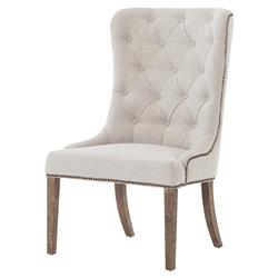 Luis French Soft Grey Button Tufted Side Chair | Kathy Kuo Home