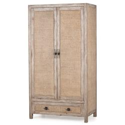 Lydia French Country Rattan Distressed Wood Cabinet | Kathy Kuo Home