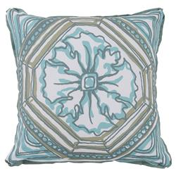 Lydie Coastal Floral Aqua Sketch Outdoor Pillow - 20x20 | Kathy Kuo Home