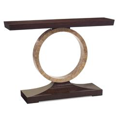Macassar Ebony Hollywood Regency Mother of Pearl Circle Console Table | Kathy Kuo Home