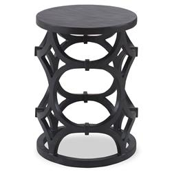 Mackay Modern Ivory Gesso Ring Column End Table | Kathy Kuo Home