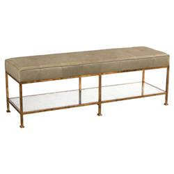 Macrine Regency Mirrored Tufted Sage Leather Bench | Kathy Kuo Home