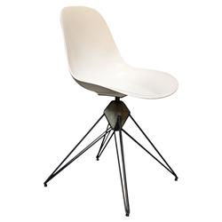 Maddock Industrial Loft White Shell Dining Chair | Kathy Kuo Home