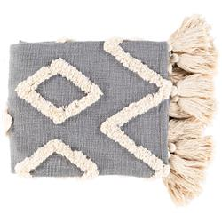 Maggie Global Bazaar Grey Diamond Patterned Cotton Throw Blanket | Kathy Kuo Home