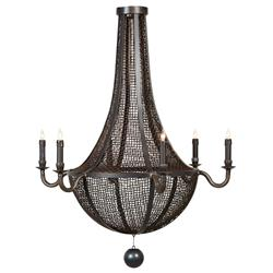 Magnus Industrial Loft Iron Mesh 6 Light Chandelier | Kathy Kuo Home