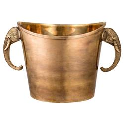 Maharaja Modern Classic Vintage Brass Elephant Wine Cooler | Kathy Kuo Home