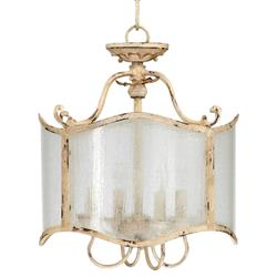 Maison French Country Antique White  4 Light Glass Chandelier | Kathy Kuo Home