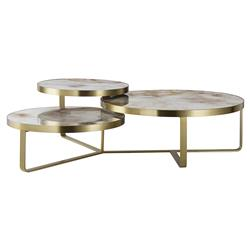 Maison 55 Rex Modern Classic Tan Glass Top Gold Metal Frame Coffee Table | Kathy Kuo Home