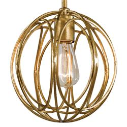 Majorelle Hollywood Regency Gold Ring Orb Mini Pendant | Kathy Kuo Home
