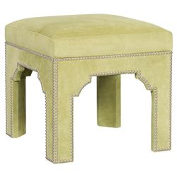 Makai Bazaar Lime Leather Nickel Trim Stool | Kathy Kuo Home