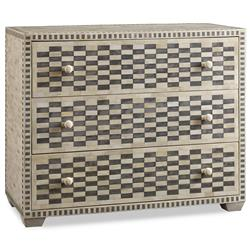 Malacca Global Bazaar Grey Bone Checkered Dresser | Kathy Kuo Home
