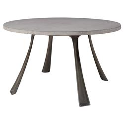 Malden Industrial Grey Stone Steel Outdoor Dining Table - 48D | Kathy Kuo Home