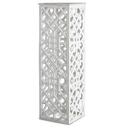 Mamounia Global Bazaar White Marble Fretwork Column Pedestal Table | Kathy Kuo Home