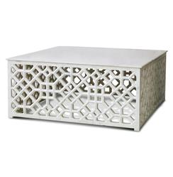Mamounia Global Bazaar White Marble Fretwork Square Coffee Table | Kathy Kuo Home