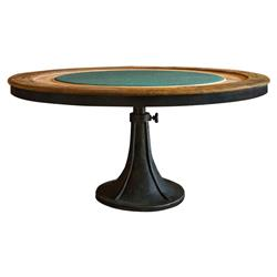 Mandalay Industrial Loft Wood Green Felted Cast Iron Poker Table | Kathy Kuo Home