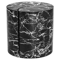 Maori Modern Classic Black Marble Yin Yang Side End Table - Set of 2 | Kathy Kuo Home